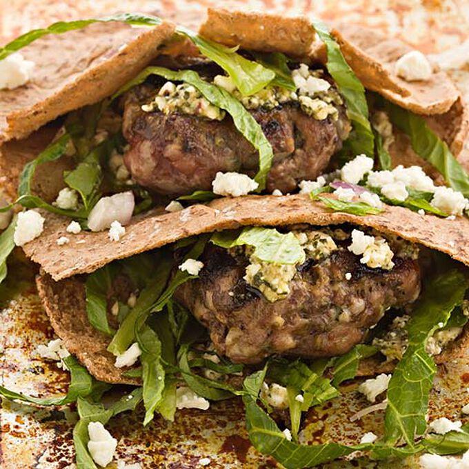 Grilled Lamb Pita Sliders with Feta and Mint Pesto