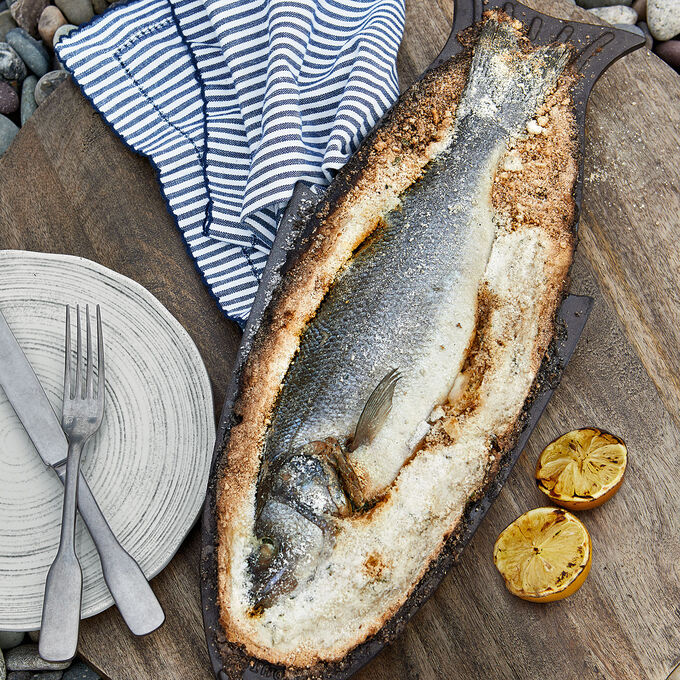 Salt-Baked Sea Bass with Lemon and Herb