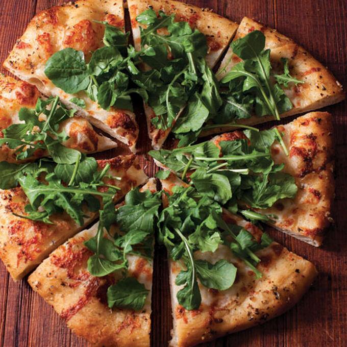 Grilled Pizza with Mozzarella, Arugula and Chile Oil