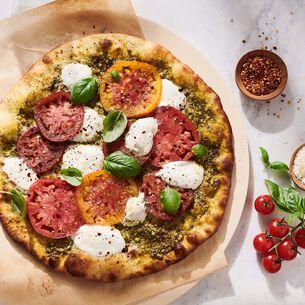 Burrata and Heirloom Tomato Pizza with Basil Pesto
