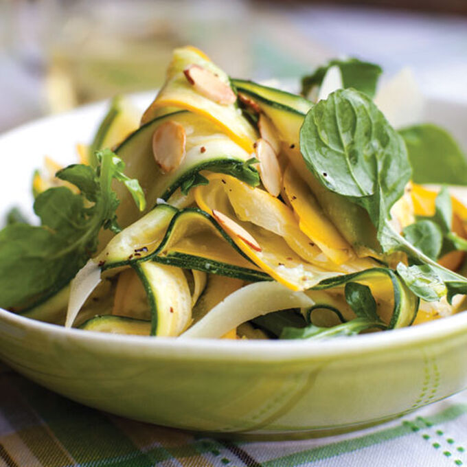 Summer Squash Carpaccio Recipe with Arugula, Pecorino & Almonds | Sur La Table