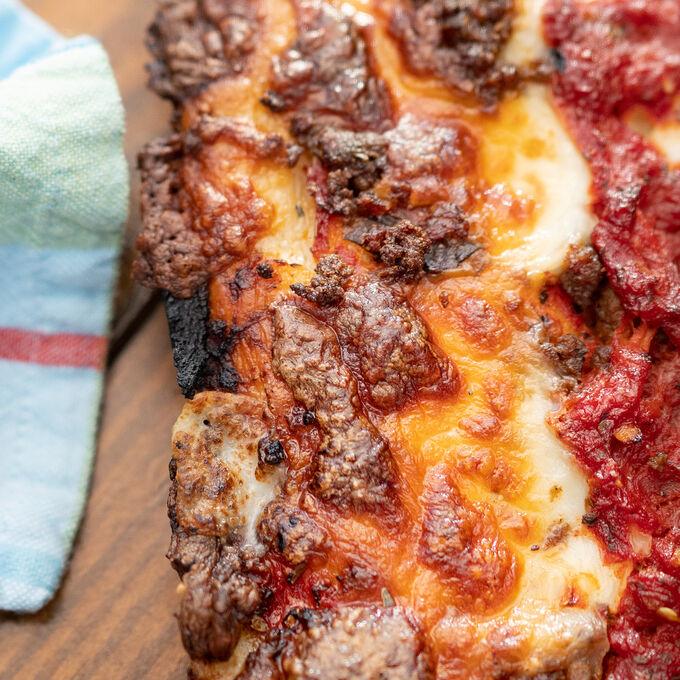 Detroit-Style Goat Sausage Pizza
