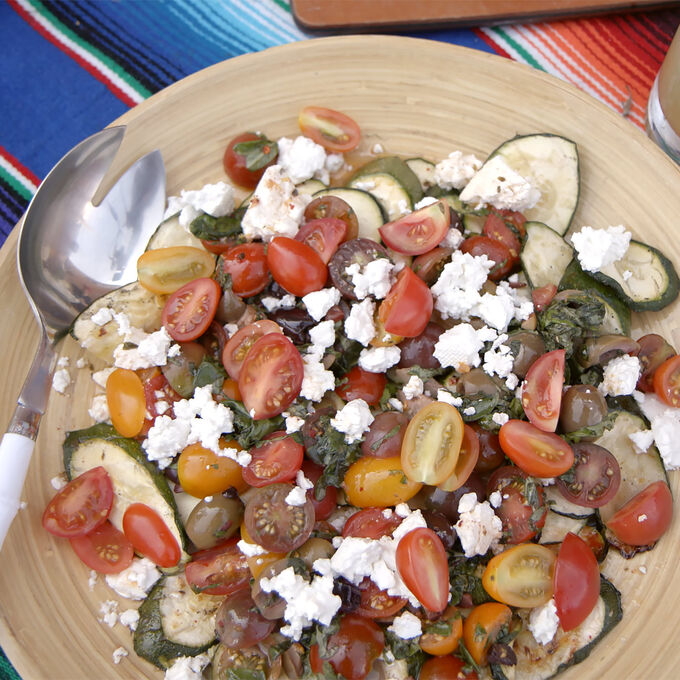 Charred Zucchini with Heirloom Tomatoes, Olives and Feta