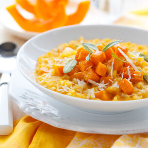 Kabocha Squash Risotto with Crispy Pancetta