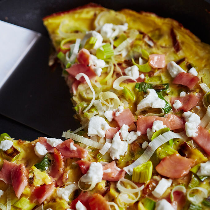 Goat Cheese and Melted Leek Frittata