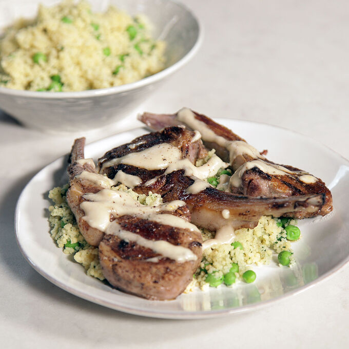 Moroccan Lamb Chops with Green Couscous and Tahini