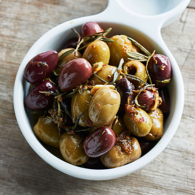 Warm Baked Olives with Orange and Fennel