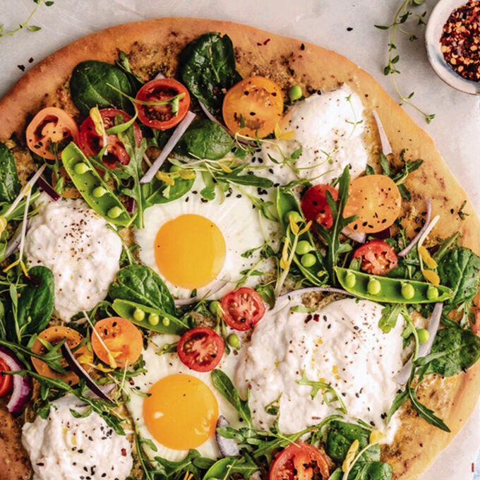 Spring Greens Burrata Pizza