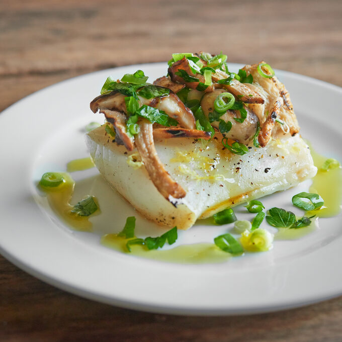 Steam-Grilled Black Cod, Mushrooms, Italian Parsley and Spring Onion