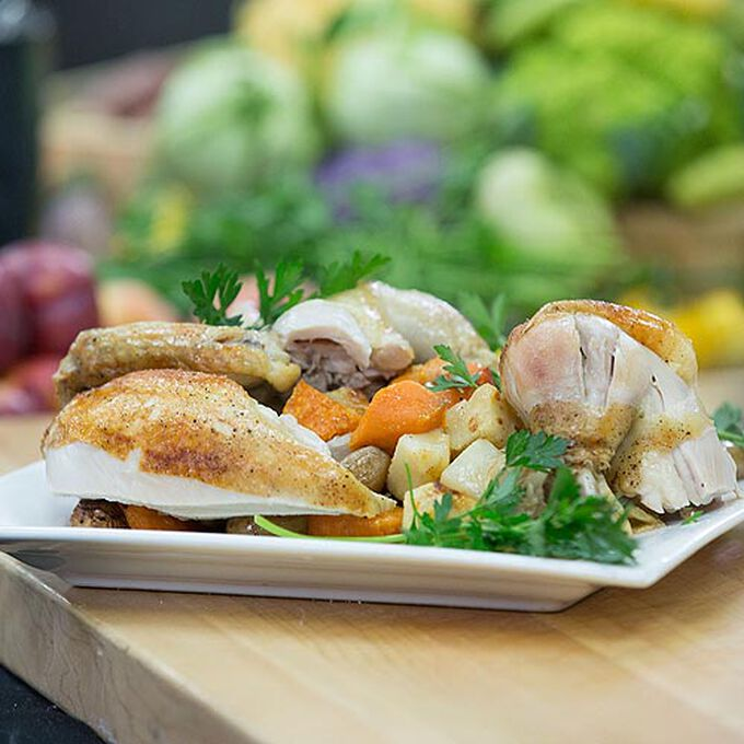 Perfect Roasted Chicken with Root Vegetables in the Pressure Oven