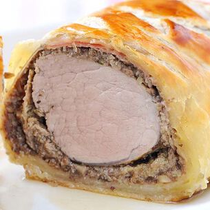 Pork Tenderloin with Mushrooms and Herbs Wrapped in Puff Pastry