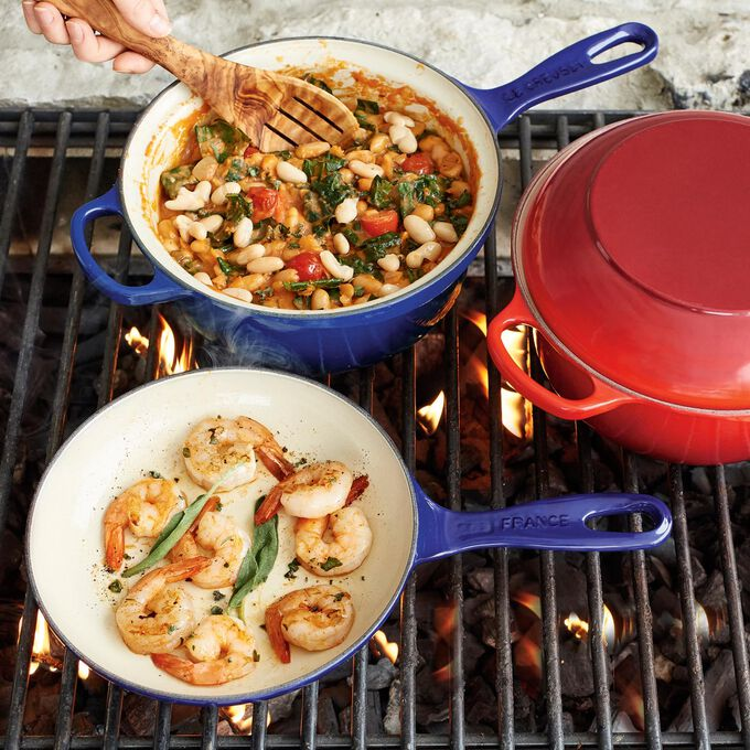 Grilled Shrimp and Tomatoes with Cannellini Beans and Sage