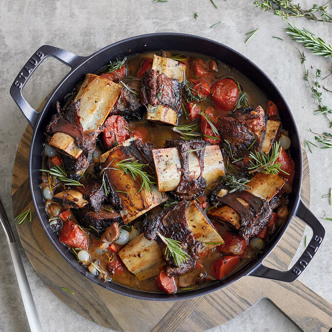 Port Braised Short Ribs with Mushrooms and Pearl Onions