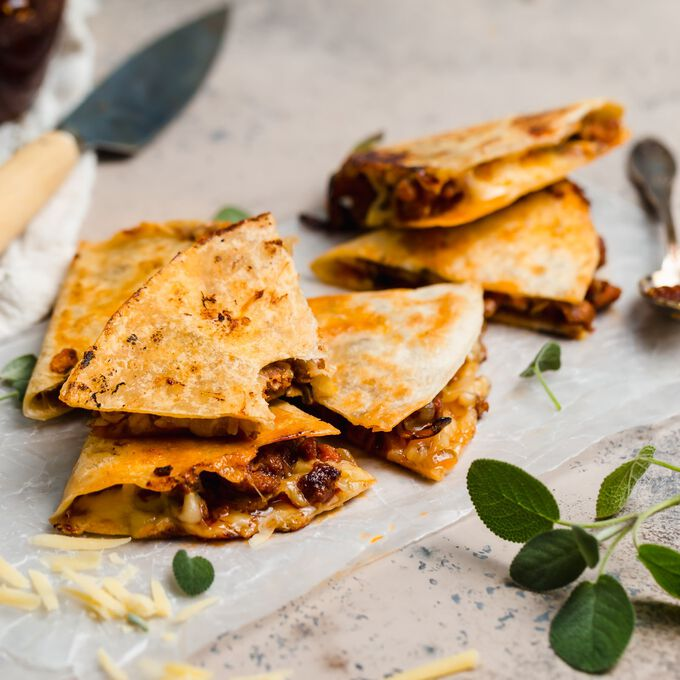 Chorizo, Cheddar and Fig Jam Quesadilla