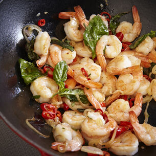 Spicy Shrimp Simmered in Basil