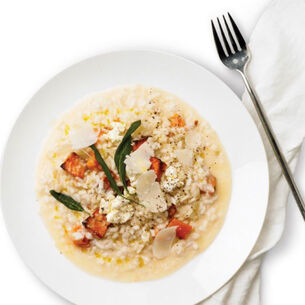 Pumpkin Risotto with Sage & Goat Cheese