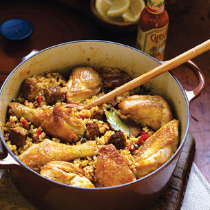 Arroz con Pollo with Chorizo and Capers