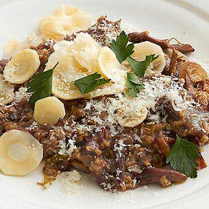 Anson Mills Oat Risotto with Oxtail Roasted Shallot and Parsnips