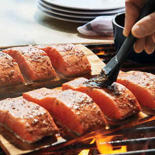 Cedar-Plank Salmon with Maple-Mustard Glaze