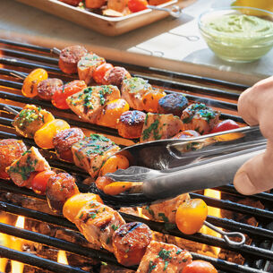 Grilled Fish and Smoked Sausage Skewers with Basil Aioli