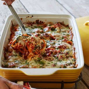 Sweet Potato Baked Ziti with Mushrooms and Spinach