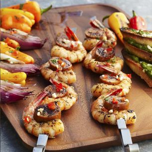 Shrimp Skewers with Spiced Mango Wraps