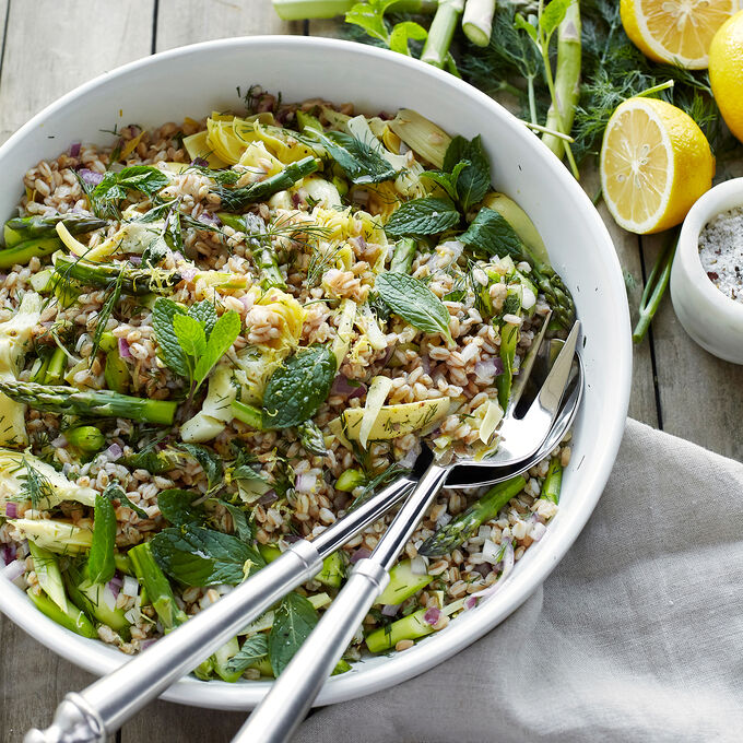 Asparagus Farro Salad with Mint and Artichokes