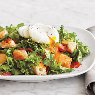 Frisee Salad with Bacon, Egg and Garlic Toasts