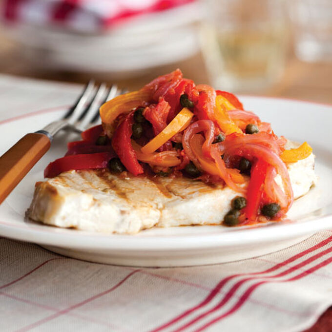 Grilled Swordfish with Peperonata