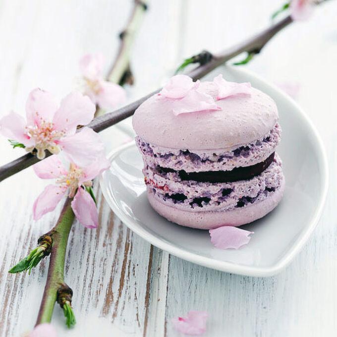 Lavender Macarons with Dark Chocolate Ganache