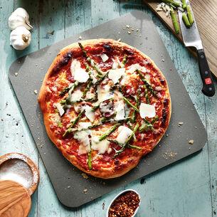 Chorizo, Asparagus and Manchego Pizza