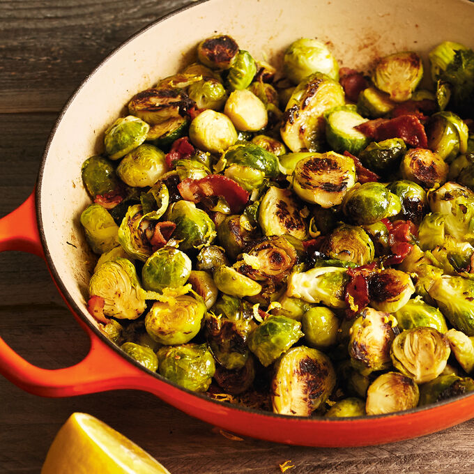 Caramelized Brussels Sprouts with Bacon and Thyme