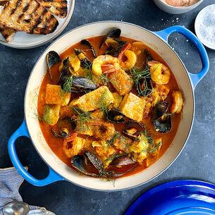 Bouillabaisse with Sun-Dried Tomato Aioli
