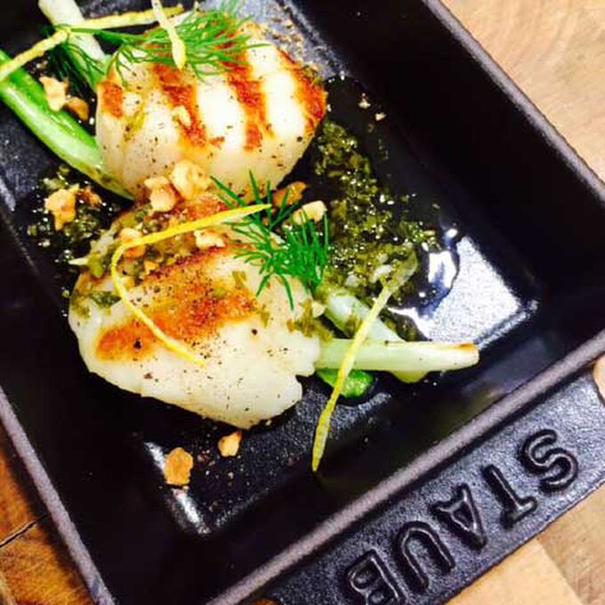 Steam-Grilled Scallops with Scallions, Herb Butter, Apple and Hazelnut