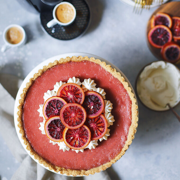 Blood Orange and Hibiscus Curd Tart
