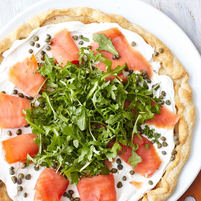 Smoked Salmon, Arugula and Creme Fraiche Pizza