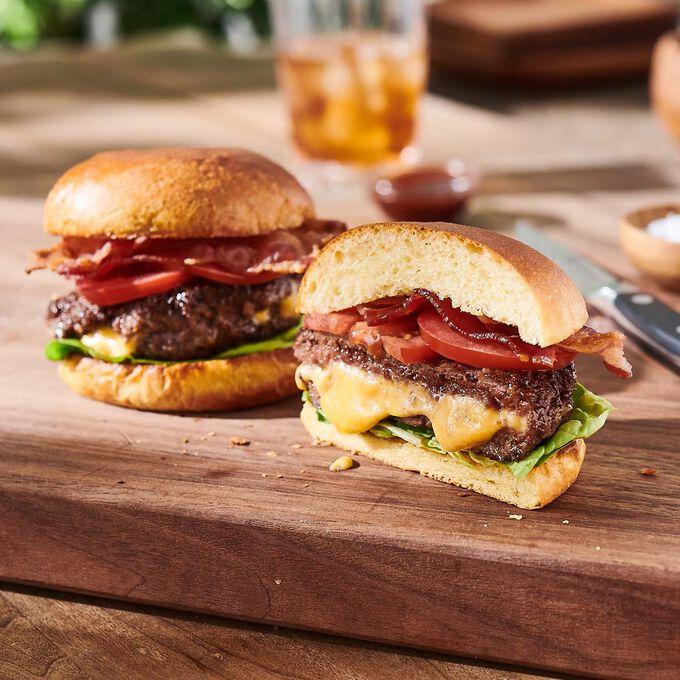Freshly Ground Sirloin Burgers Stuffed With Cheddar