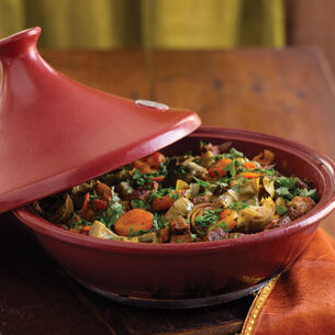 Lamb Tagine with Artichoke Hearts, Dried Apricots, and Preserved Lemon