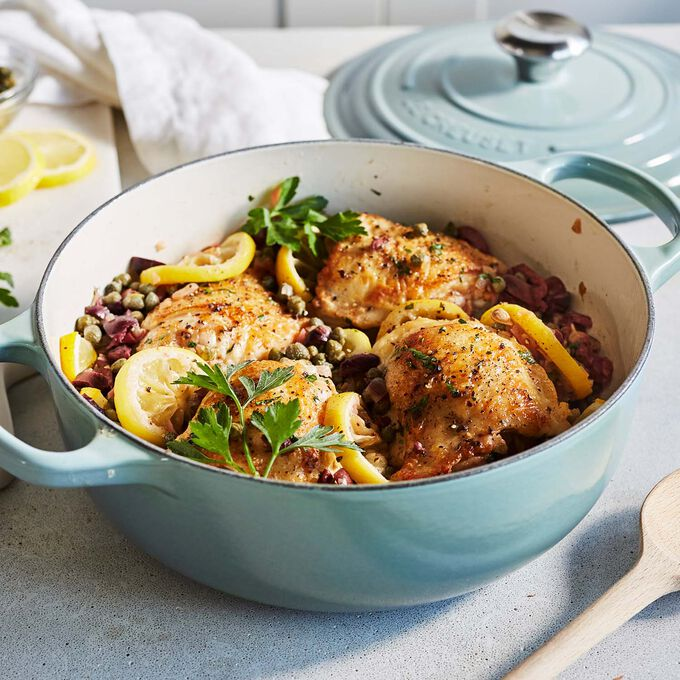 Roasted Chicken Thighs with Capers, Olives and Roasted Lemons