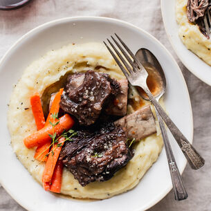 Instant Pot Short Ribs with Mashed Potatoes and Root Vegetables