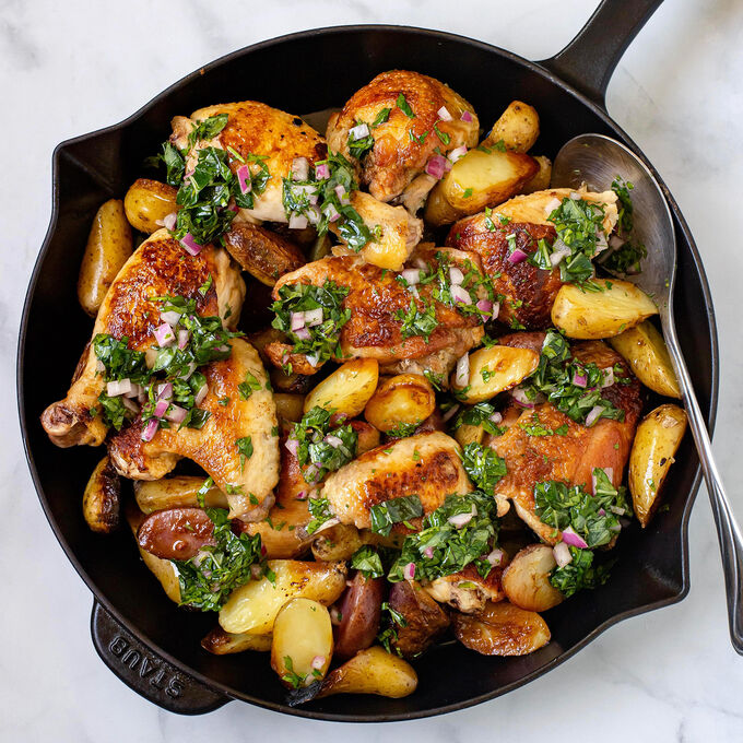 Cast-Iron Skillet Chicken With Fingerling Potatoes