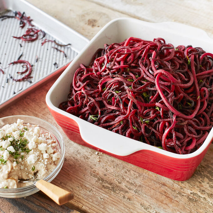 Roasted Beet Strings with Balsamic Goat Cheese Dip