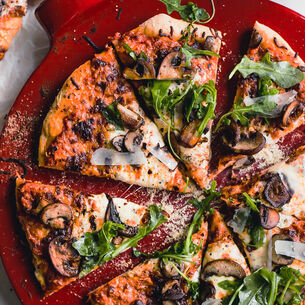 Three-Cheese Pizza with Caramelized Mushrooms & Greens