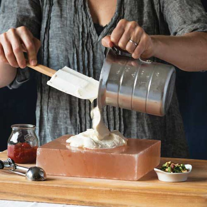 Salt-Frozen Parmesan Ice Cream with Tomato Marmalade and Basil Gremolata