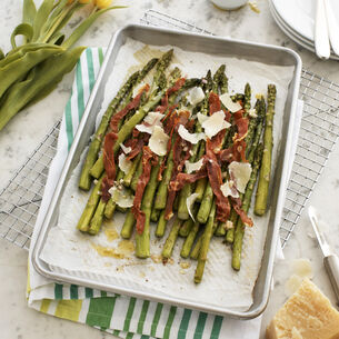 Roasted Asparagus Salad with Thyme Vinaigrette and Prosciutto Crisps