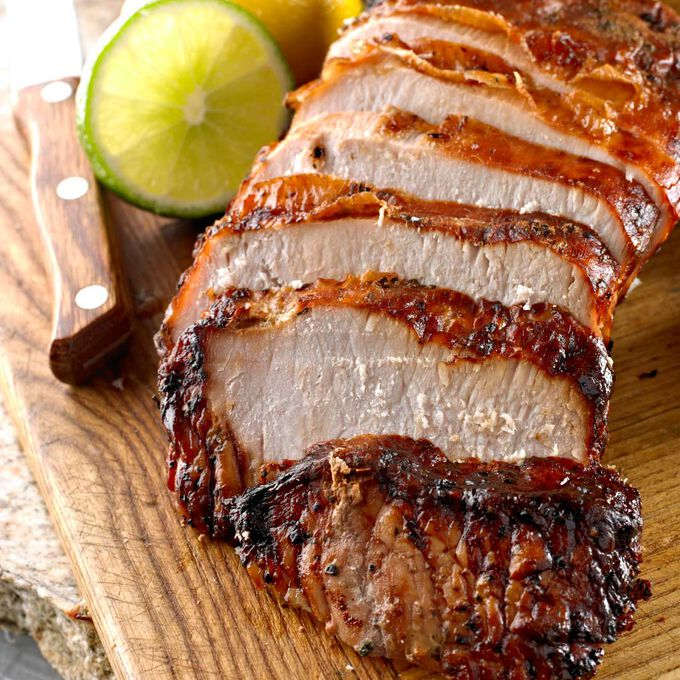 Roast Pork Loin with Caramelized Onions and Sherry Wine Sauce