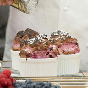 Raspberry Souffles in the Pressure Oven