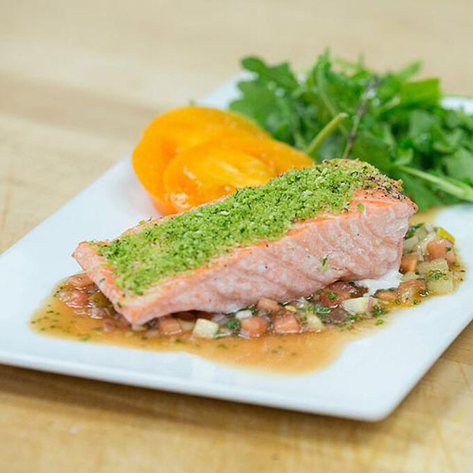 Herb Crusted Salmon with Tomato Vinaigrette in the Pressure Oven