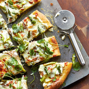 Watercress and Asparagus Pizza