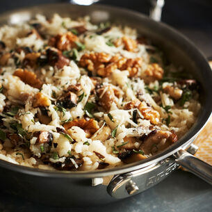 Risotto with Wild Mushrooms, Walnuts and Sage